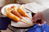 Corndog with french fries — Stock Photo