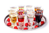 Set of short cocktail with raspberries and strawberries on a tray — Stock Photo
