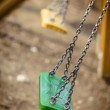 Chain swings falling down in playground, autumn, fall playgr — Stock Photo #41003199