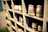 Old bowling shoes in cupboard,shallow DOF. — Stock Photo