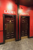 Entrance to theWC, toilets in the restaurant, separate for ladie — Stock Photo