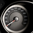Fragment of instrument panel of car speedometer, tachometer with visible symbols of instrument cluster. — Stock Photo