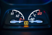 Fuel, gas and Engine coolant temperature gauge in car with warning lamp. — Stock Photo