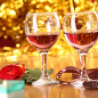 Celebration table, a rose and two glasses — Stock Photo #41060521