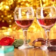 Celebration table, a rose and two glasses — Stock Photo