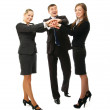 Businesspeople putting their hands on top of pile — Stock Photo