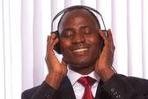 African-american wearing headphones — Stock Photo