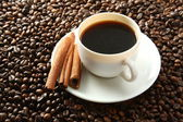 Cup of coffee  with cinamon — Stock Photo