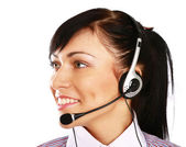 Businesswoman with headset. Call center — Stock Photo