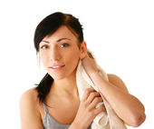 Woman with a towel — Stock Photo