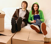 Boxs and  people. — Stock Photo