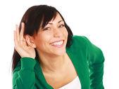 молодая женщина прослушивания — Стоковое фото