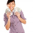 Woman with dollars in her hands — Stock Photo #41149497