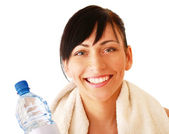 Sport Woman holding bottle of water — Stock Photo