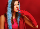 Young woman in fur coat — Stock Photo