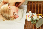 Woman is lying during a spa treatment — Stock Photo