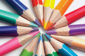 The closeup of many colored pencils — Stock Photo