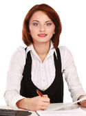 Woman sitting on the desk with papers — Foto de Stock