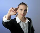 Genç kadın işaret — Stok fotoğraf