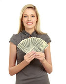 Woman with dollars in her hands — Photo