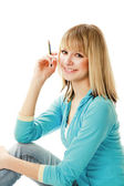 Female student with pencil — Stock Photo