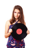 Girl with vinyl disc — Stock Photo