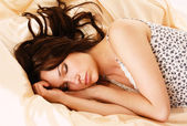 Woman on bed at bedroom — Stock Photo