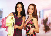 Young women shopping together — Stock Photo