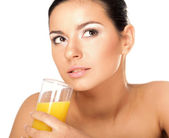 Woman holding glasses of juice — Stock Photo