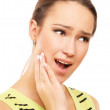 Woman in pain is having toothache — Foto Stock