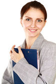 Woman with folders standing — Stock Photo