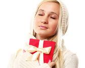 Kadın hediye ile — Stok fotoğraf