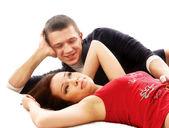 Liefde, paar liggend op de vloer — Stockfoto