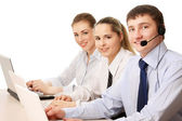 Call employees at the desk — Stock Photo