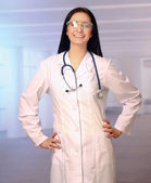 Medical doctor woman with stethoscope — Stock Photo