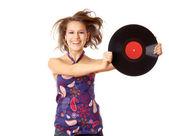 Girl with vinyl disc — Stock Photo