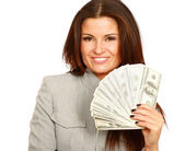 Woman with dollars in her hands — Stock Photo