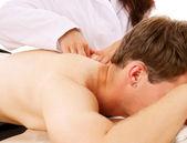 Giovane intelligente maschio massaggio godendo — Foto Stock