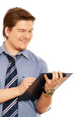 Businessman writing notes — Stock Photo