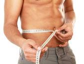 Man use measurement tape — Stock Photo