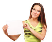 Woman holding empty white board — Stock Photo