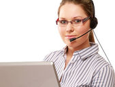 Woman with a headset — Stock Photo