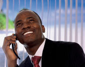 African-american businessman talking on the phone — Stock Photo