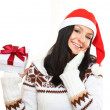 Christmas woman with a gift — Stock Photo
