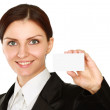 Woman holds out a business or credit card — Stock Photo #41194241