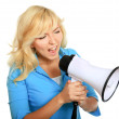 Young girl shouting with megaphone — Stock Photo