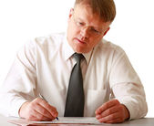 Businessman writing — Stock Photo