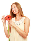 Young woman with flower — Stock Photo