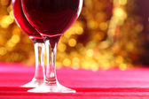 Festive dinner with wine glasses — Stock Photo
