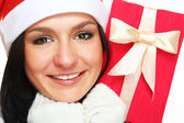 Woman dresses as a sexy santa — Stock Photo